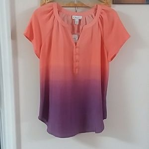 Orange Purple Blouse